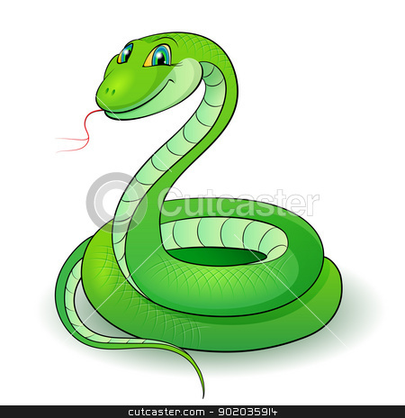 Green snake stock photo, Cartoon Illustration of a nice green snake. by dvarg