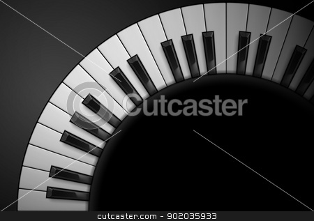 Piano keys stock photo, Piano keys on black background. Illustration for design by dvarg