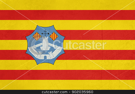 Grunge Minorca Flag stock photo, Grunge illustration of Minorca flaf of Balearic Islands, Spain, isolated on white background. by Martin Crowdy