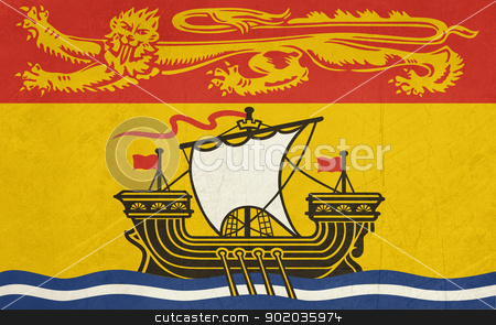 Grunge New Brunswick state flag stock photo, Illustration of New Brunswick state flag, Canada. by Martin Crowdy