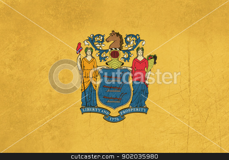Grunge New Jersey state flag stock photo, Grunge Illustration of New Jersey state flag, United States of America. by Martin Crowdy