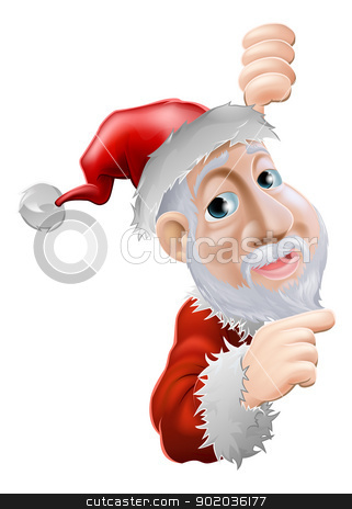 Happy cartoon Santa pointing to side stock vector clipart, An illustration of a happy cartoon Santa smiling and pointing to the side  by Christos Georghiou