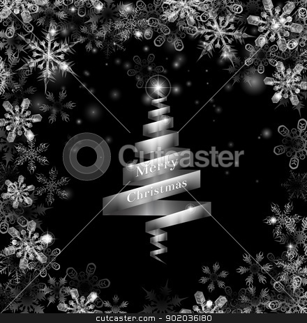 Abstract silver ribbon Christmas tree stock vector clipart, Abstract silver ribbon Christmas tree illustration with beautiful snowflakes in a border round the frame by Christos Georghiou