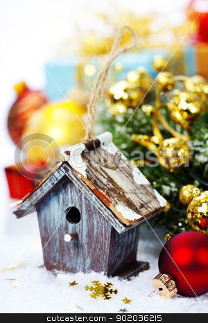 christmas composition stock photo, Bright christmas composition with small birdhouse by klenova