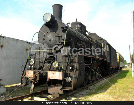 Ancient black steam locomotive stock photo, The image of ancient black steam locomotive by Alexander Matvienko