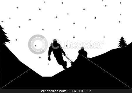 Sledding family with children in mountain in winter silhouette stock vector clipart, Sledding family with children in mountain in winter silhouette by Tijana Mihajlovic