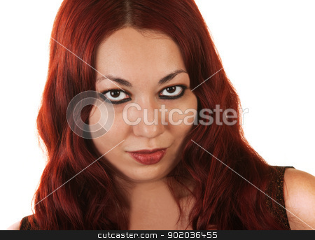 Hispanic Woman with Beautiful Eyes stock photo, Sexy Hispanic woman with beautiful eyes over isolated background by Scott Griessel