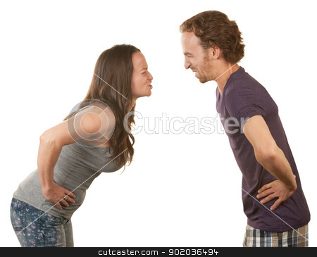 Frustrated Couple Arguing stock photo, Frustrated spouses closed eyes arguing over isolated background by Scott Griessel
