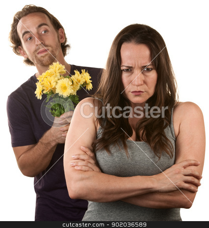 Angry Woman and Man with Flowers stock photo, Angry young woman and man with flower bouquet by Scott Griessel