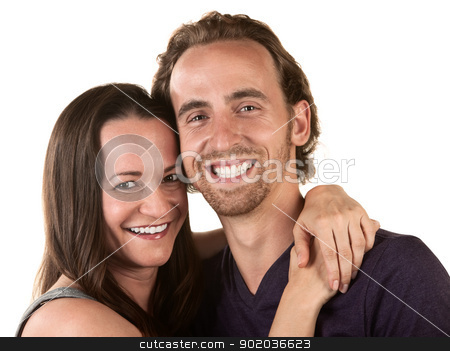 Happy Couple Close Up stock photo, Close up of happy young couple holding each other by Scott Griessel
