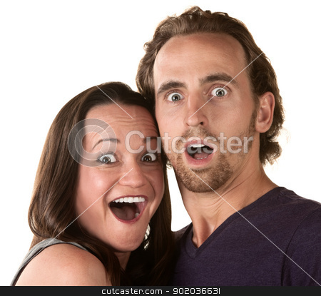 Surprised Couple stock photo, Surprised white man and woman over isolated background by Scott Griessel