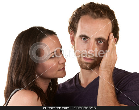 Sympatethic and Sad Man stock photo, Sympathetic woman looking at man holding his head by Scott Griessel