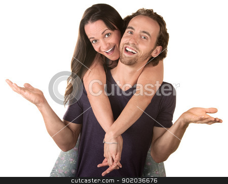 Happy Woman On Man's Back stock photo, Happy woman riding the back of a smiling husband by Scott Griessel