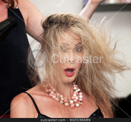 Blow Dryer Messing Up Hair stock photo, Shocked woman with messy hair from blow dryer by Scott Griessel