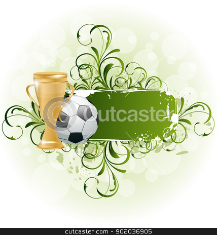 Grunge floral football card with ball and prize stock vector clipart, Illustration grunge floral football card with ball and prize - vector by -=Mad Dog=-
