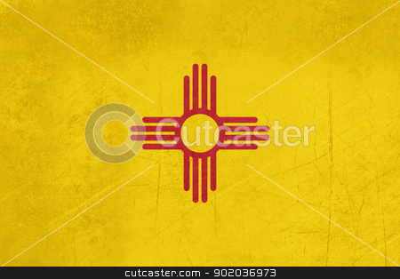 Grunge New Mexico state flag stock photo, Grunge Illustration of New Mexico state flag, United States of America. by Martin Crowdy