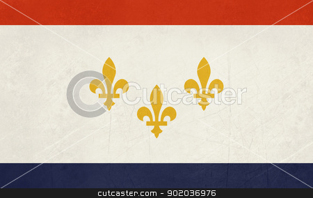 Grunge New Orleans flag stock photo, Grunge New Orleans city flag, state of Louisiana, U.S.A.  by Martin Crowdy