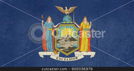 Grunge New York state flag stock photo, Grunge illustration of New York state flag, United States of America. by Martin Crowdy