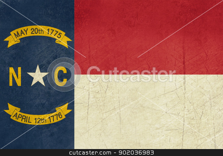 Grunge North Calorina state flag stock photo, Grunge illustration of North Carolina state flag, United States of America. by Martin Crowdy
