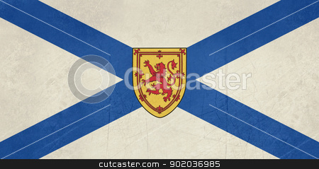 Grunge Nova Scotia state flag stock photo, Grunge illustration of Nova Scotia state flag, Canada. by Martin Crowdy