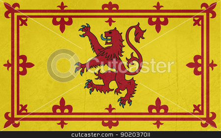 Grunge Scottish Royal Standard stock photo, Grunge Scottish Royal Standard illustration, isolated on white background. by Martin Crowdy