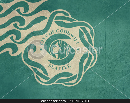 Grunge Seattle city flag stock photo, Grunge city flag of Seattle city in the U.S.A.  by Martin Crowdy