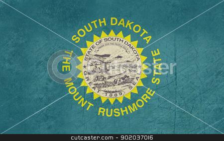 Grunge South Dakota state flag stock photo, Grunge South Dakota state flag of America, isolated on white background. by Martin Crowdy