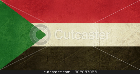 Grunge Sudan Flag stock photo, Grunge sovereign state flag of country of Sudan in official colors.  by Martin Crowdy