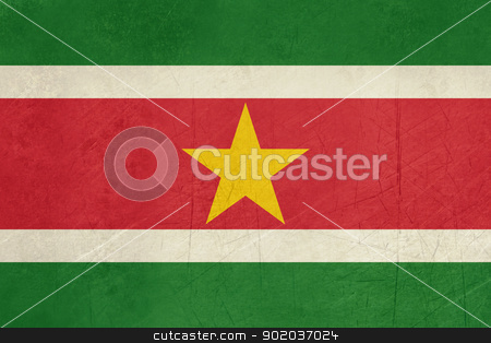 Grunge Suriname Flag stock photo, Grunge sovereign state flag of country of Suriname in official colors. by Martin Crowdy