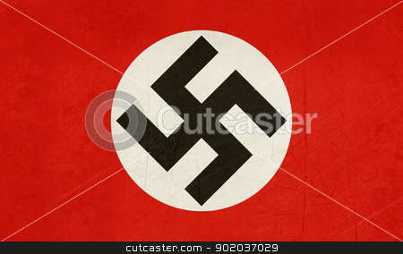 Grunge Swastika Flag stock photo, Grunge Swastika flag in official colors. by Martin Crowdy