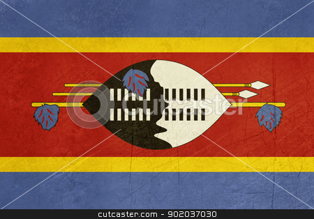 Grunge Swaziland Flag stock photo, Grunge Sovereign state flag of country of Swaziland in official colors. by Martin Crowdy