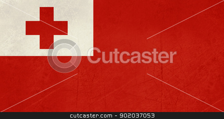Grunge Tongo Flag stock photo, Grunge sovereign state flag of country of Tongo in official colors.  by Martin Crowdy