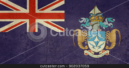 Grunge Tristan da Cunha flag stock photo, Grunge sovereign state flag of dependent country of Tristan da Cunha in official colors.   by Martin Crowdy
