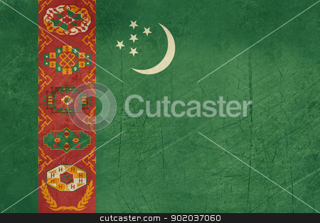 Grunge Turkmenistan Flag stock photo, Grunge Sovereign state flag of country of Turkmenistan in official colors.  by Martin Crowdy