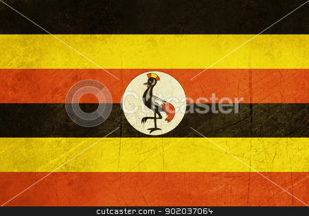Grunge Uganda Flag stock photo, Grunge sovereign state flag of country of Uganda in official colors.  by Martin Crowdy