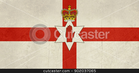 Grunge Ulster flag stock photo, Grunge Ulster flag of Northern Ireland illustration, isolated on white background. by Martin Crowdy