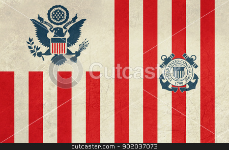 Grunge United States Navy Ensign stock photo, Grunge United States Navy Ensign or flag in official colors. by Martin Crowdy