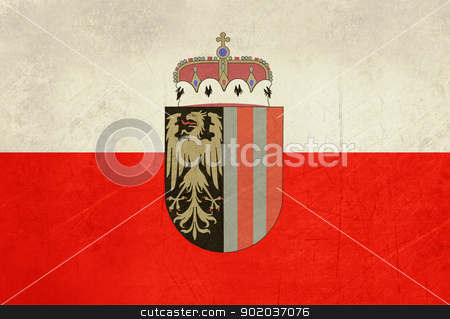 Grunge Upper Austria state flag stock photo, Grunge official state flag of Upper Austria with heraldic shield.  by Martin Crowdy