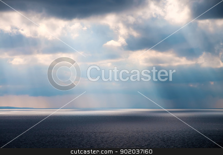 Beautiful seascape stock photo, Beautiful seascape with sunlight rays on the surface sea by Imaster