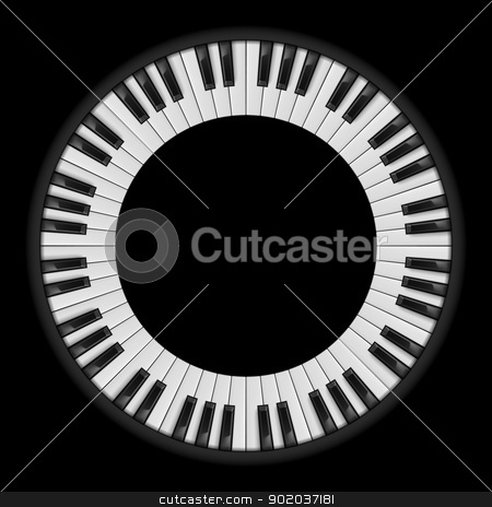 Piano keys stock photo, Piano keys. Circular illustration, for creative design on black by dvarg