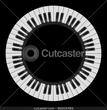 Piano keys stock photo, Piano keys. Abstract illustration, for creative design on black by dvarg