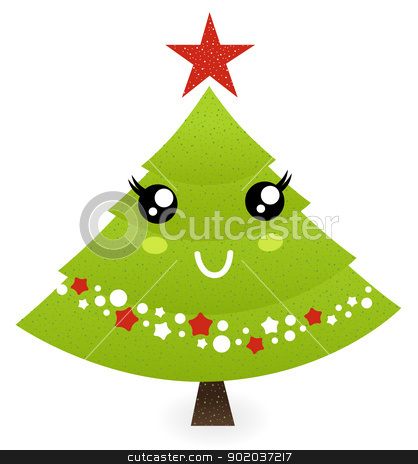 Cute christmas tree character isolated on white stock vector clipart, Tree mascot character. Vector cartoon illustration
