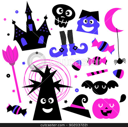 Halloween elements set isolated on white stock vector clipart, Cute halloween cartoon elements. Vector Illustration  by Jana Guothova