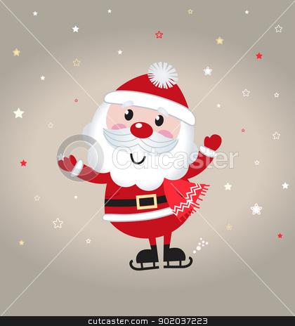 Cute cartoon christmas Santa claus on snowing background stock vector clipart, Retro stylized illustration of Santa man. Vector  by Jana Guothova