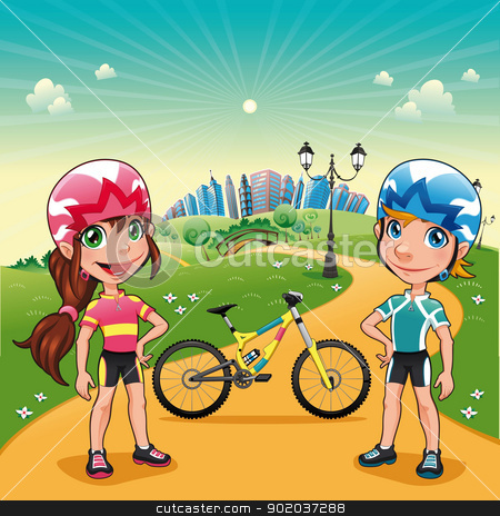 Park with young bikers. stock photo, Park with young bikers. Funny cartoon and vector scene.   by ddraw
