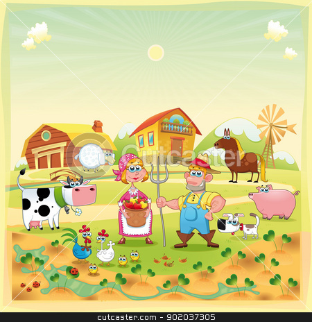 Farm Family.  stock photo, Farm Family. Funny cartoon and vector illustration.