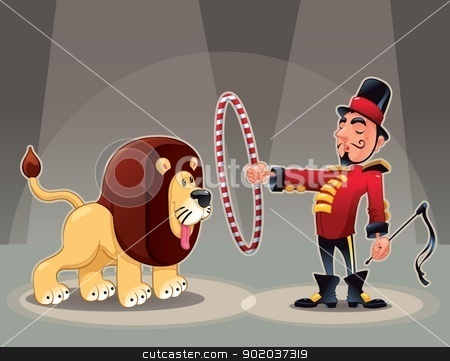 Lion Tamer with lion. stock vector clipart, Lion Tamer with lion. Funny cartoon and vector circus illustration. by ddraw