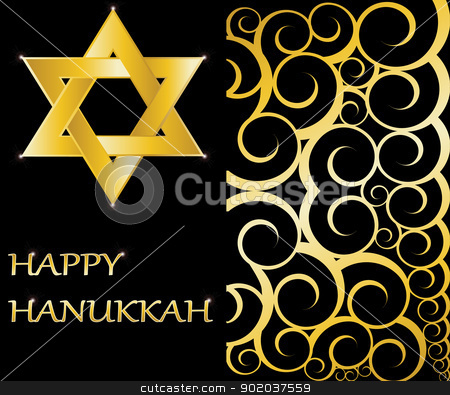 Happy Hanukkah Star of David vector illustration stock vector clipart, Happy Hanukkah Star of David vector illustration by vician