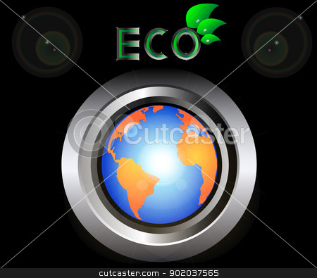 eco Green Earth Planet on metal button black background vector illustration stock vector clipart, eco Green Earth Planet on metal button black background vector illustration by vician
