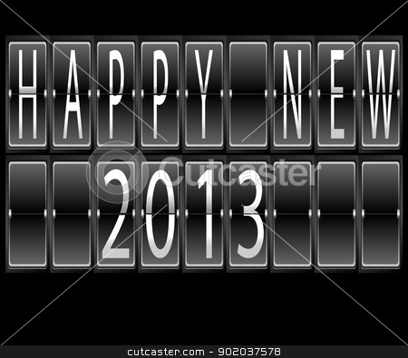 happy New Year 2013 Set of letters and numbers on a mechanical timetable terminal vector illustration on black background stock vector clipart, happy New Year 2013 Set of letters and numbers on a mechanical timetable terminal vector illustration on black background by vician